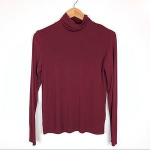 Eileen Fisher 100% Silk Turtleneck Burgundy Small